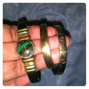 4 bronze gold bracelets
